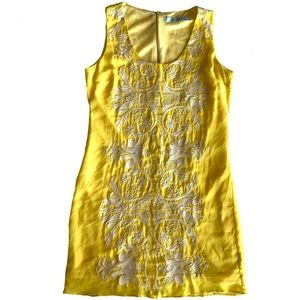 Karlie Embroidered Bright Yellow Mini Dress